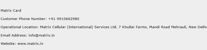 Matrix Card Phone Number Customer Service