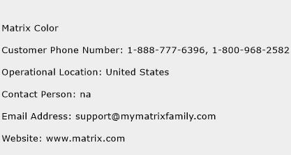 Matrix Color Phone Number Customer Service