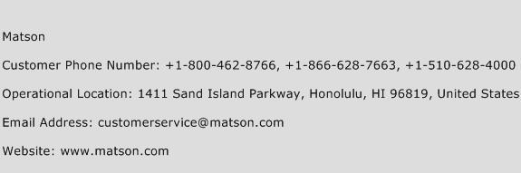 Matson Phone Number Customer Service