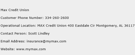 Max Credit Union Phone Number Customer Service