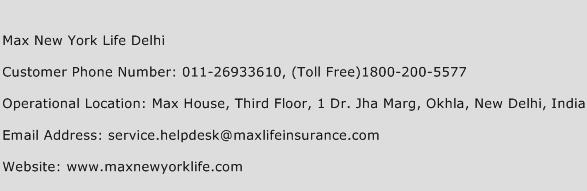 Max New York Life Delhi Phone Number Customer Service