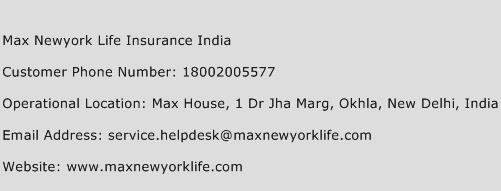 Max Newyork Life Insurance India Phone Number Customer Service