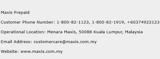 Maxis Prepaid Phone Number Customer Service