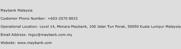 Maybank Malaysia Phone Number Customer Service