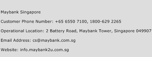 Maybank Singapore Phone Number Customer Service