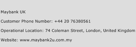 Maybank UK Phone Number Customer Service