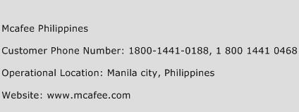 McAfee Philippines Phone Number Customer Service