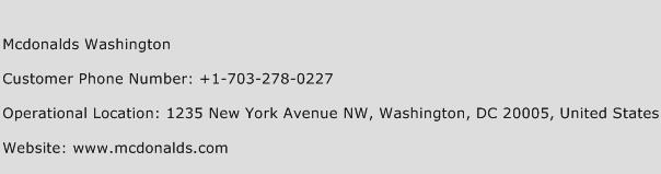 McDonalds Washington Phone Number Customer Service