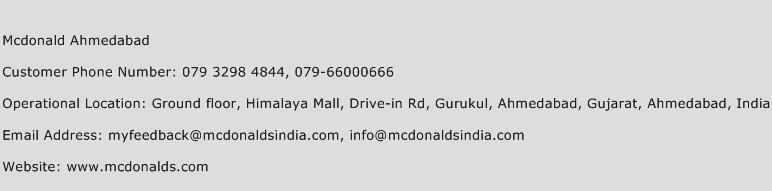 Mcdonald Ahmedabad Phone Number Customer Service