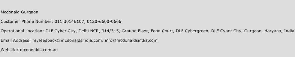 Mcdonald Gurgaon Phone Number Customer Service