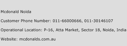 Mcdonald Noida Phone Number Customer Service