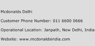 Mcdonalds Delhi Phone Number Customer Service