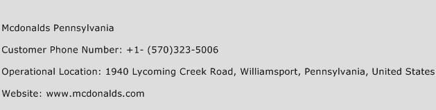 Mcdonalds Pennsylvania Phone Number Customer Service