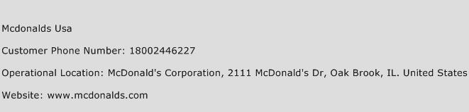 Mcdonalds USA Phone Number Customer Service