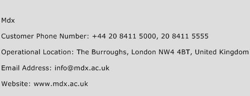Mdx Phone Number Customer Service