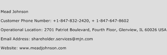Mead Johnson Phone Number Customer Service