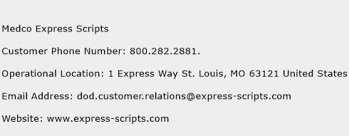 Medco Express Scripts Phone Number Customer Service