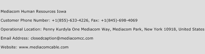 Mediacom Human Resources Iowa Phone Number Customer Service
