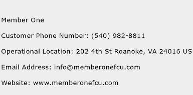 Member One Phone Number Customer Service