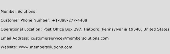 Member Solutions Phone Number Customer Service