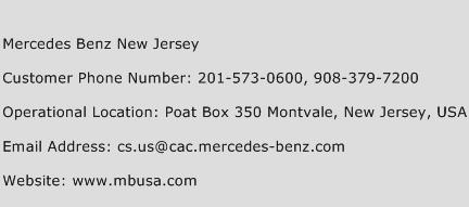 Mercedes benz new jersey customer service phone number for Mercedes benz customer service email address