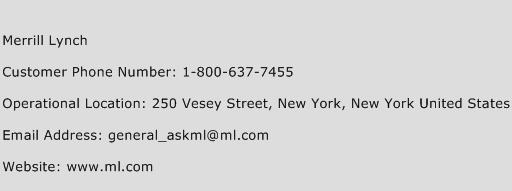 Merrill Lynch Phone Number Customer Service
