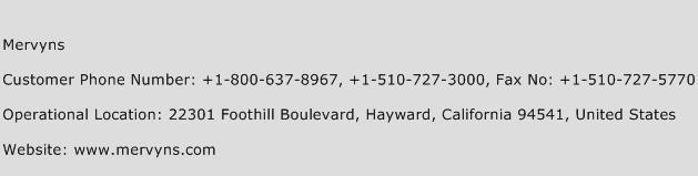 Mervyns Phone Number Customer Service
