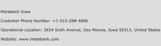 Metabank Iowa Phone Number Customer Service