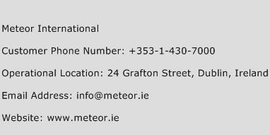 Meteor International Phone Number Customer Service