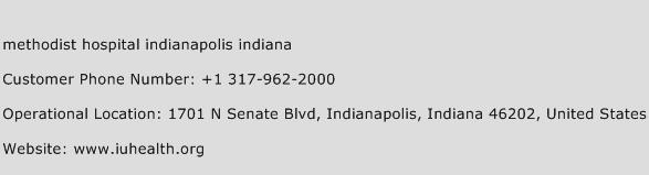 Methodist Hospital Indianapolis Indiana Phone Number Customer Service
