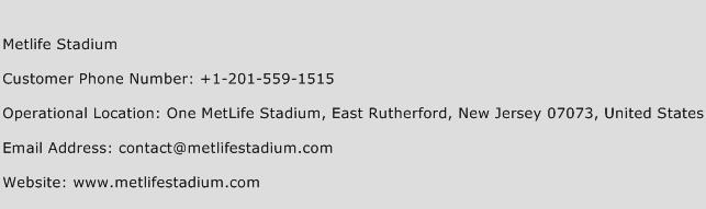 Metlife Stadium Phone Number Customer Service