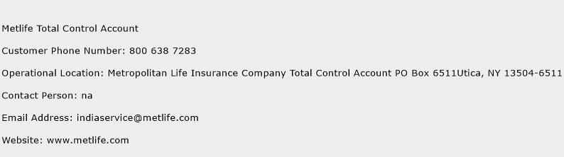 Metlife Total Control Account Phone Number Customer Service