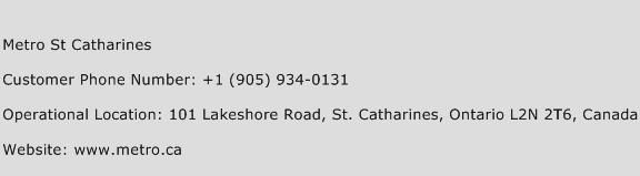 Metro St Catharines Phone Number Customer Service