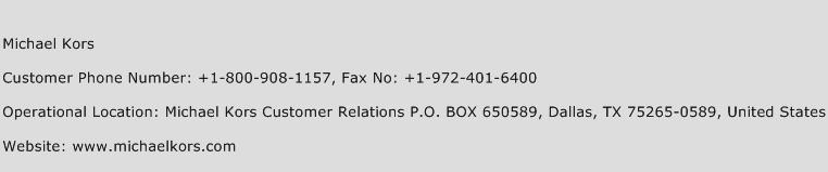 Michael Kors Phone Number Customer Service