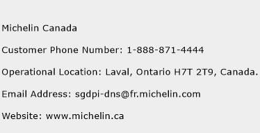 Michelin Canada Phone Number Customer Service