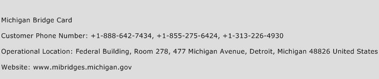 Michigan Bridge Card Phone Number Customer Service