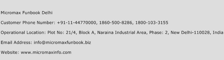 Micromax Funbook Delhi Phone Number Customer Service