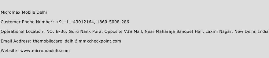 Micromax Mobile Delhi Phone Number Customer Service