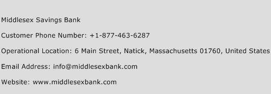 Middlesex Savings Bank Phone Number Customer Service