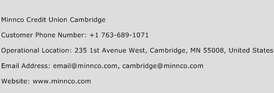 Minnco Credit Union Cambridge Phone Number Customer Service