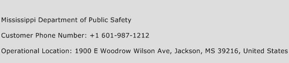 Mississippi Department of Public Safety Phone Number Customer Service