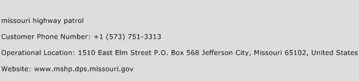 Missouri Highway Patrol Phone Number Customer Service