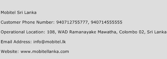 Mobitel Sri Lanka Phone Number Customer Service