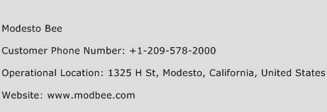 Modesto Bee Phone Number Customer Service
