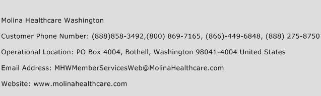 Molina Healthcare Washington Phone Number Customer Service