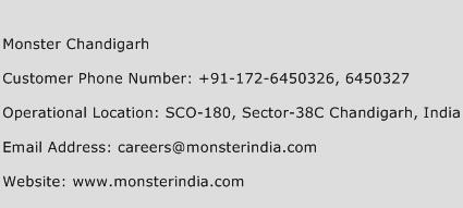 Monster Chandigarh Phone Number Customer Service