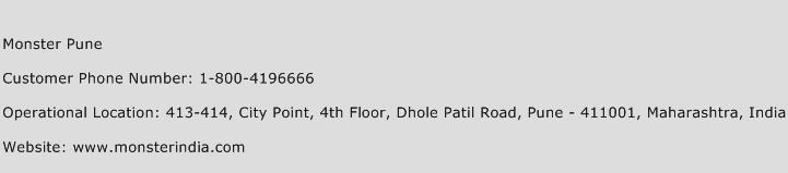 Monster Pune Phone Number Customer Service