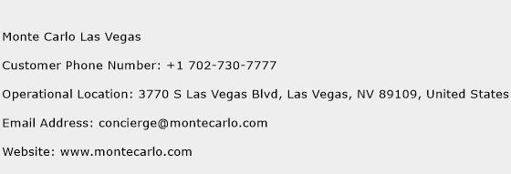 Monte Carlo Las Vegas Phone Number Customer Service