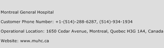 Montreal General Hospital Phone Number Customer Service