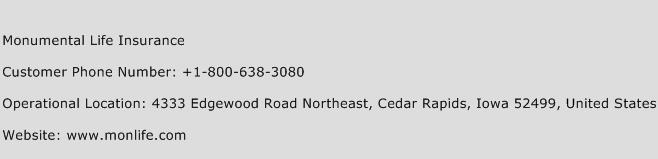 Monumental Life Insurance Phone Number Customer Service